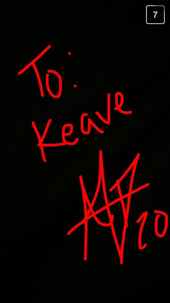 The Snapchat autograph AJ DeLaGarza sent to me