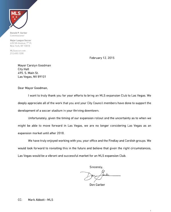MLS letter to Las Vegas Mayor Goodman