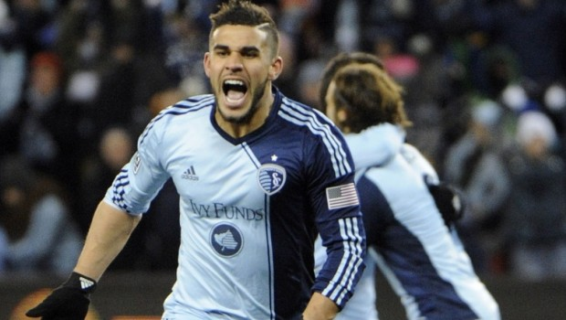 Dom Dwyer celebrates after scoring for Sporting Kansas City last season (Photo: SportingKC.com)
