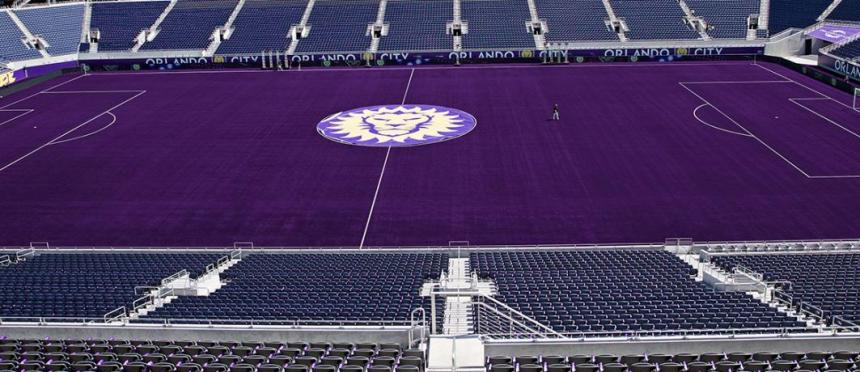 Orlando City's new purple turf at the Orlando Citrus Bowl (Photo: OrlandoCitySC.com)