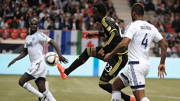 Kei Kamara in action for the Columbus Crew against Vancouver Whitecaps