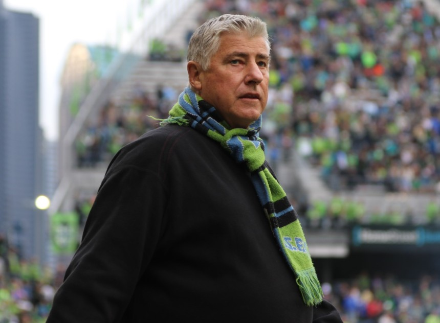 Sigi Schmid looks on during Seattle's game against Sporting Kansas City (Photo: Denisemccooey©)