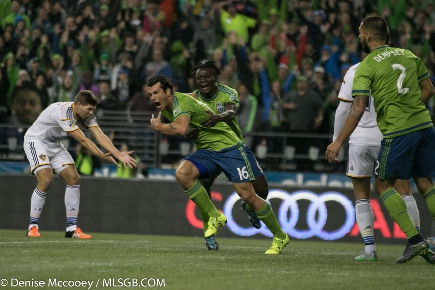 Seattle Sounders vs LA Galaxy MLS Playoffs 2015 Nelson Valdez