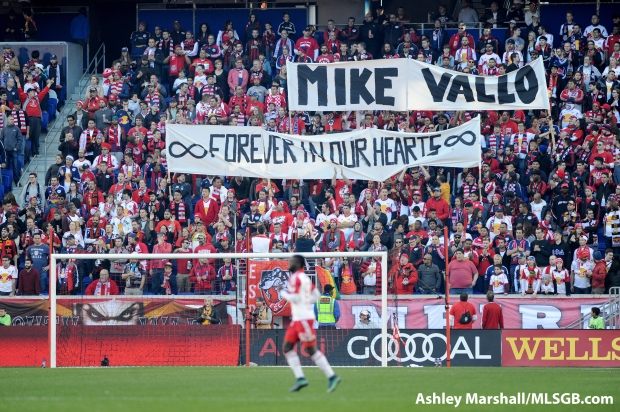 Fans in the South Ward remember Mike Vallo during the MLS Eastern Conference Semifinal Second Leg: New York Red Bulls vs. DC United at Red Bull Arena in Harrison, New Jersey, USA, on Nov. 8, 2015. Photo: Ashley Marshall/MLSGB.com
