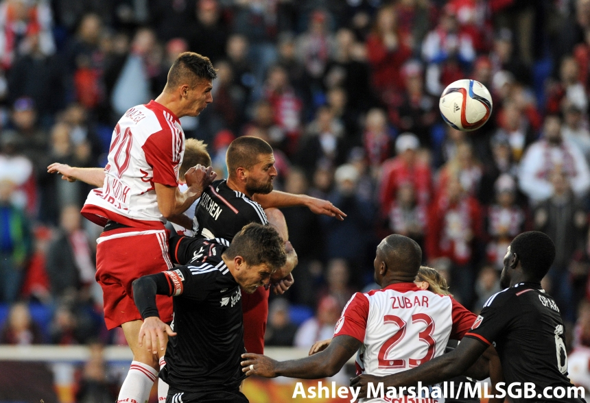 New York's Matt Miazga wins a header in the MLS Eastern Conference Semifinal Second Leg: New York Red Bulls vs. DC United at Red Bull Arena in Harrison, New Jersey, USA, on Nov. 8, 2015. Photo: Ashley Marshall/MLSGB.com