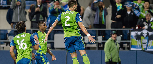 Forward Clint Dempsey celebrates his second goal after scoring from close range on a corner kick. All images courtesy of Sounders FC Communications. Photo: Jane Gershovich.