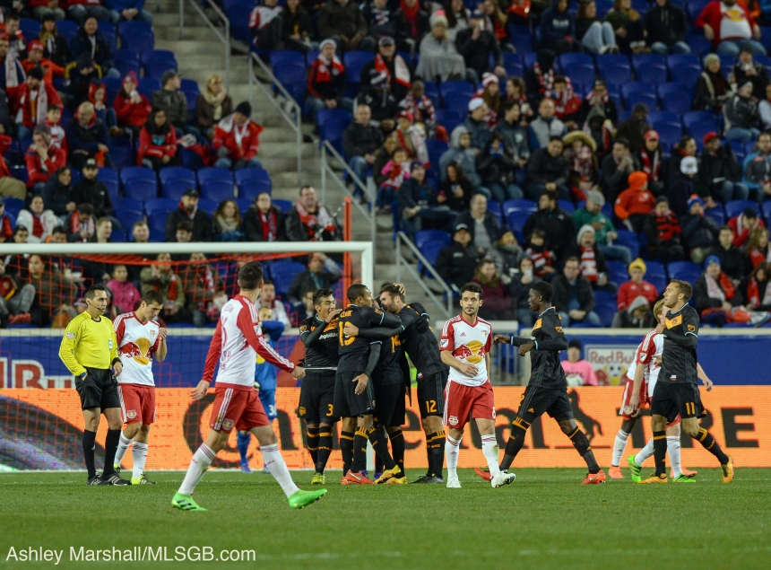 MLS: New York Red Bulls vs. Houston Dynamo Celebrate