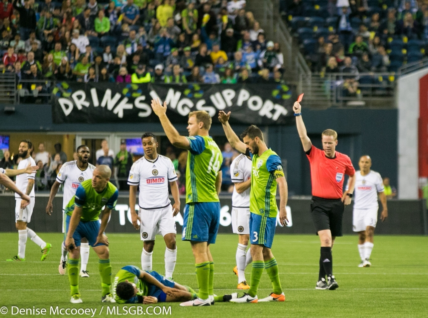 Seattle Sounders vs Philadelphia Union Red Card Alberg