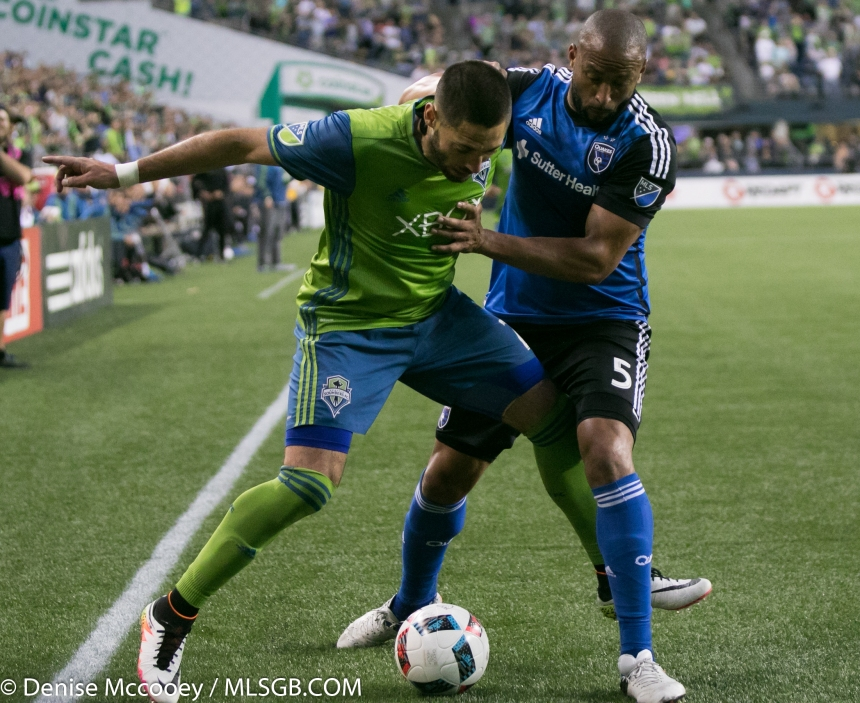 Seattle Sounders vs San Jose Earthquakes Clint Dempsey Victor Bernardez