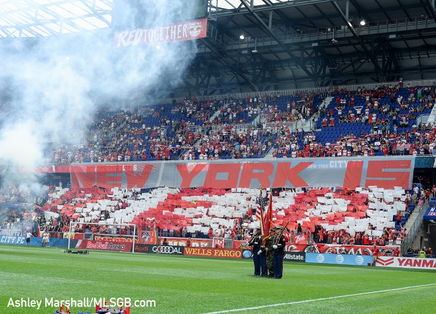 MLS: New York Red Bulls vs. New York City FC - Red Bulls Fans Tifo