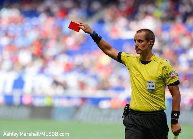 MLS: New York Red Bulls vs. New York City FC - Mark Geiger Red Card