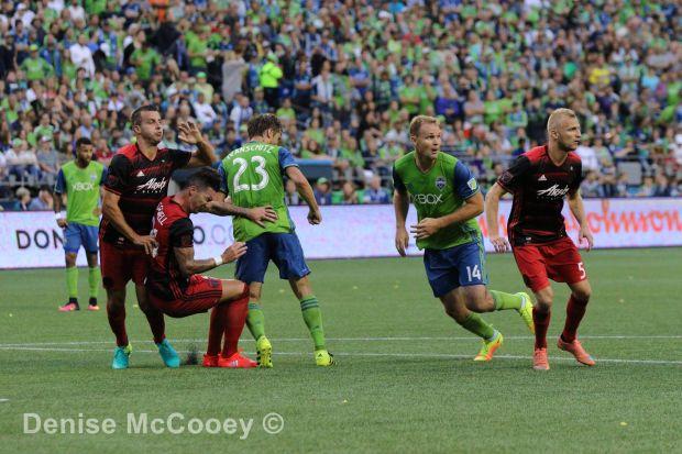 Seattle Sounders vs Portland Timbers 2016 Steven Taylor Liam Ridgewell